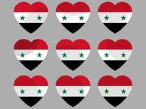 Hearts with the Syrian flag. I love Syria. Syria flag icon set. Vector Stock Photos