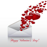 Hearts take off from  inside open envelope ,  concept love. Valentine Day. Vector Stock Photography