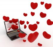 Hearts take off from the screen of laptop Royalty Free Stock Image