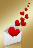 Hearts taking off from an envelope Stock Photos