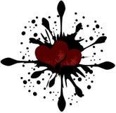 Hearts on balck drops isolated stock photo
