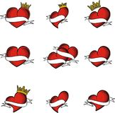 Red crown ribbon hearts tattoo set Stock Image