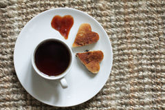 With hearts tea Royalty Free Stock Images
