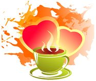 Hearts and tea cup Stock Image
