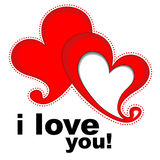 Hearts with text I love you Stock Images