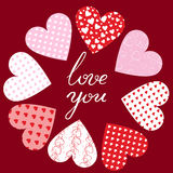Hearts and text Love You Royalty Free Stock Photos