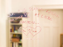 Hearts and text on mirror Royalty Free Stock Images