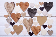 Hearts Texture On White Wooden Background Royalty Free Stock Image