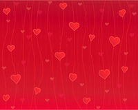 Hearts on the thread, red background. Love texture - vector illustration, well layered Stock Photos