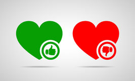 Hearts with thumb up and down. Vector illustration. Green heart with thumb up. Red heart with thumb down. Yes and No concept. Vector illustration Royalty Free Stock Photos