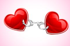 Hearts tied with Hand cuff. Illustration of pair of heart tied with hand cuff Stock Images