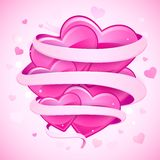 Hearts tied with ribbon Royalty Free Stock Images