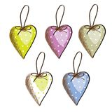 Hearts to hang different color Royalty Free Stock Image