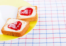Hearts on toast Royalty Free Stock Image