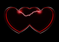 Hearts together. Two dark red hearts and lightning on a black background royalty free illustration