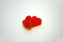 Hearts Together Valentine's Day Candy. A pair of red jelly candy Valentine's Day hearts royalty free stock images
