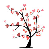 Hearts tree. Abstract tree with red hearts. Valentine decorations Royalty Free Stock Image