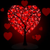 Hearts Tree Means Valentine's Day And Forest Stock Images