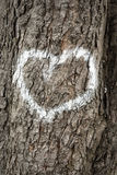 Hearts on a tree. Painted hearts on a tree Stock Image