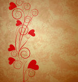 Hearts tree retro grunge background Stock Photos