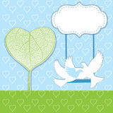 Hearts tree with two birds Royalty Free Stock Photography