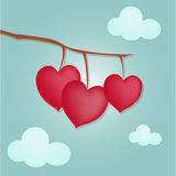 Hearts on the tree. Vector hearts on a blue background Royalty Free Stock Photo