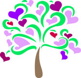 Hearts on the tree. Vector illustration.Abstract pattern.Element.Icon Stock Photography