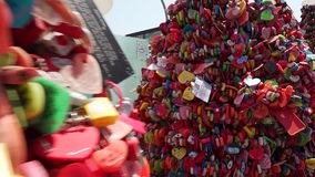Hearts on trees with locks. stock video