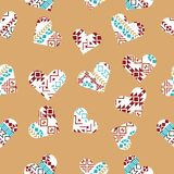 Hearts with tribal background. royalty free illustration