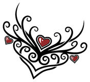 Hearts, tribal. Colorful hearts with tribal, red and black Vector Illustration