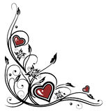 Hearts, tribal. Colorful hearts with tribal, red and black Stock Illustration