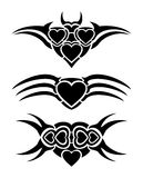 Hearts tribal tattoo Royalty Free Stock Image