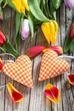 Hearts with tulips Royalty Free Stock Photo