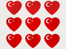 Hearts with the Turkish flag. I love the Turkey. Turkish flag icon set. Vector Royalty Free Stock Images