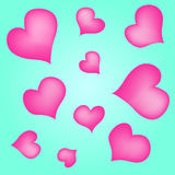 Hearts on a turquoise background. Vector pinc hearts on a turquoise background Stock Photography