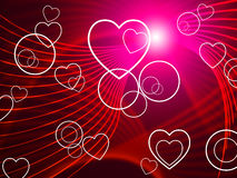 Hearts Twirl Shows Valentine's Day And Blazing Stock Image