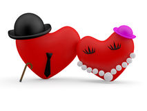 Hearts. Two cartoon person Stock Image