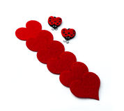 Hearts with two ladybugs for Valentines Day Stock Photos