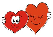 Hearts. Two hearts in love. Vector icon. Funny illustration. Loving couple Stock Images