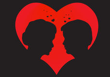 Hearts and two lovers Royalty Free Stock Photography