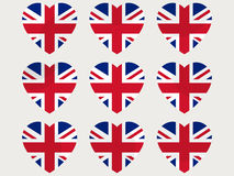 Hearts with the UK flag. I love the UK. England flag icon set. Vector Royalty Free Stock Image
