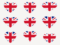 Hearts with the UK flag. I love the UK. England flag icon set. Vector Royalty Free Stock Photo