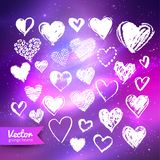 Hearts on ultraviolet space background. Vector collection of hand drawn white grunge doodle hearts on ultraviolet outer space background Stock Illustration