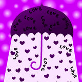 Hearts umbrella valentines day card. Pink umbrella with light and hearts falling down Royalty Free Stock Photography