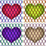 Hearts under chain link fence. Colorful illustration of hearts under chain link fence Stock Photography