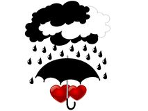 Hearts under umbrella Stock Photos