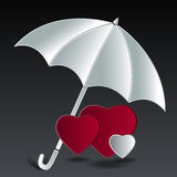Hearts under umbrella. Red and white Hearts under umbrella it mean life security Stock Image