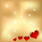 Hearts And Valentin`s Day gold background Vector Illustration. Eps10 Stock Image