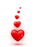 Hearts Valentine abstract glossy background Stock Images