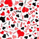 Hearts Valentine Background With Painted Love Word Royalty Free Stock Image